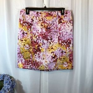 LOFT Purple Watercolor Floral Pencil Skirt, 14